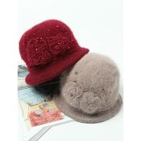 冬季新款中老年人兔毛毛线帽子女冬天妈妈婆婆时尚加厚保暖针织帽