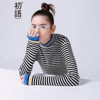 初语春季新款 中高领撞色条纹修身百搭毛衣针织衫女8640423607