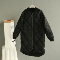女冬季新款中长款棉衣韩版chic宽松格纹面包服立领棒球外套潮 黑色 S