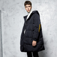 唐狮2017冬装新款羽绒服男连帽中长款韩版拼接青少年外套