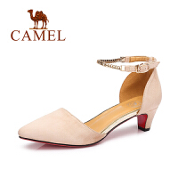 Camel骆驼女鞋 夏季新款 气质尖头百搭粗跟单鞋优雅通勤女鞋