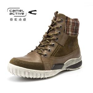 Camel Active/骆驼动感冬季新头层牛皮男真皮靴子军靴高帮男鞋