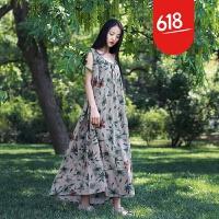夏季新款原创魅儿原创设计女装棉麻吊带民族风宽松背心连衣裙GX03 浅棕色(旧绿花背心裙) 均码