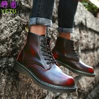 新款马丁靴男鞋高帮韩版百搭潮流英伦黑色冬季棉鞋中帮工装短靴子
