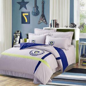全棉四件套时尚学院风纯棉四件套精梳棉学生床用品床单被罩套装1.5/1.8床/2.0米