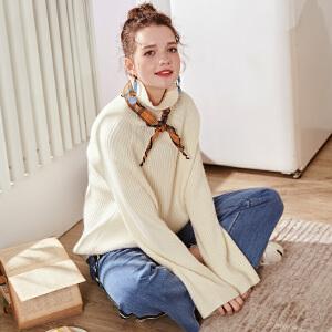 【2件3折价119.7元】唐狮新款秋冬季女毛衣套头宽松慵懒风百搭白色针织衫高领线衫