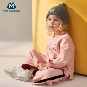 迷你巴拉巴拉童装女童休闲套装2018秋新款女宝宝纯棉卫衣两件套