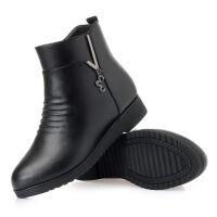 妈妈鞋棉鞋女秋冬季中年软底短靴中老年女鞋加绒保暖平底皮鞋