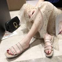 凉拖鞋女2019新款韩版夏季亮片平底百搭一字拖女时尚拖鞋女外穿潮