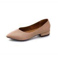 浅口单鞋女2018新款尖头复古软皮低跟奶奶鞋秋通勤工作鞋