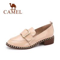 Camel/骆驼女鞋 秋季新款休闲百搭粗跟女鞋时尚个性扣带气质单鞋