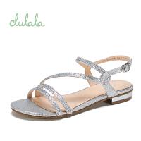 女鞋夏季平跟水钻银色平底凉鞋女鞋 银色180 36