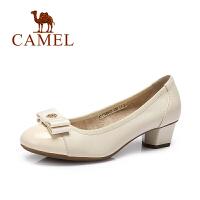Camel/骆驼女鞋 春夏新款 韩版时尚蝴蝶结粗跟浅口气质单鞋