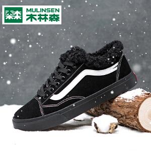 木林森棉鞋2018冬季新款韩版加绒保暖中帮鞋防滑防水厚底高帮板鞋
