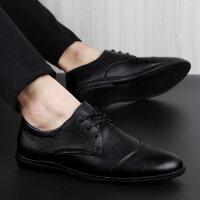 春夏季男鞋青年男士商务皮鞋真皮韩版潮软底系带黑色运动休闲鞋