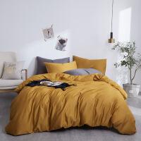 简约纯棉床上用品60支纯色贡缎长绒棉被套床笠四件套全棉4件套