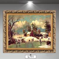 风景欧式装饰画客厅壁画墙上挂画沙发背景山水油画简欧三联画雪景 装好框60*80厘米单幅价 环保木质框+画已装裱好