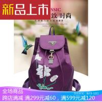 民族风中年妈妈旅行双肩包包中老年女士牛津旅游印花背包 紫色
