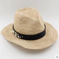时尚花朵拉菲草爵士帽夏天女士海边防晒巴拿马帽子沙滩小礼帽
