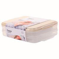 乐扣乐扣密封保鲜盒冰箱冷冻分隔饺子盒大容量储物收纳盒 米色【2.4L X2】