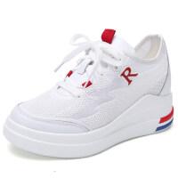 小白鞋女鞋内增高夏款新款韩版百搭厚底透气时尚休闲平底板鞋 白色