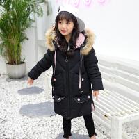 女童棉衣外套洋气儿童中长款中大童