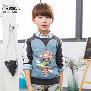 男童纯棉长袖卫衣儿童经典恐龙图案外套上衣2017春装小虎宝儿童装