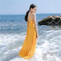沙滩裙海边度假长裙圆领高腰露背吊带雪纺连衣裙 黄色