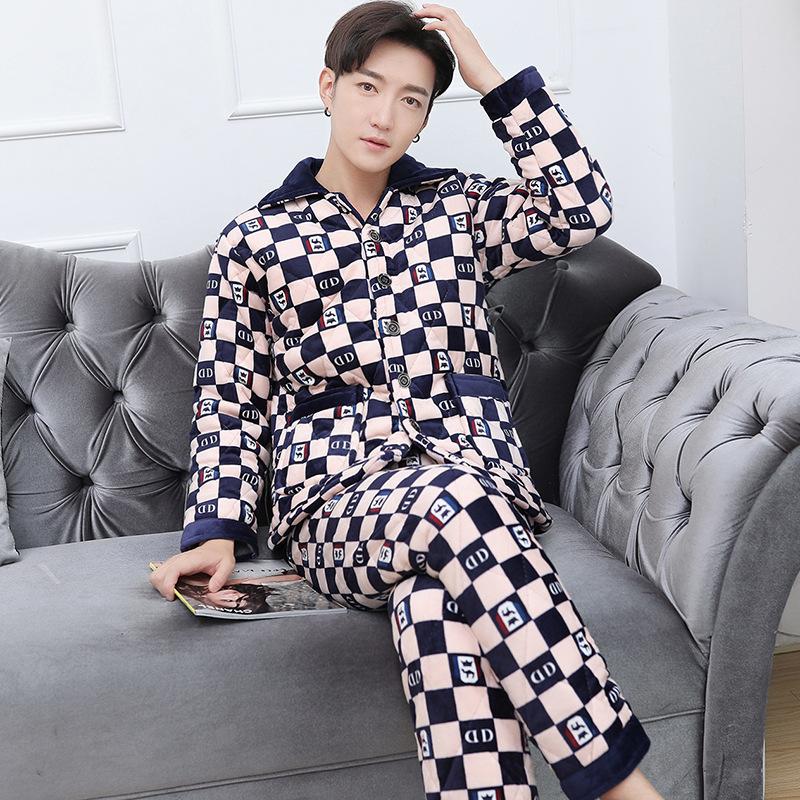 男士睡衣冬季珊瑚绒加厚加绒冬天男款保暖法兰绒家居服套装可外穿 601双D L