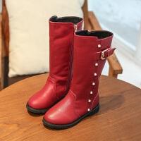 冬季新款女童时装棉鞋高筒公主学生二棉靴子防滑儿童马丁靴潮