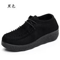 春秋老北京布鞋女鞋单鞋坡跟平底松糕厚底豆豆鞋圆头系带女工作鞋 黑色 系带D17-C21