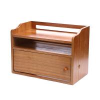 家用机顶盒路由器收纳盒插座 便携置物架电线理线盒木制非壁挂