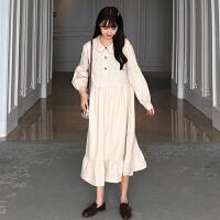 春季女2019新款韩版宽松娃娃领格子长袖连衣裙气质百搭打底裙学生
