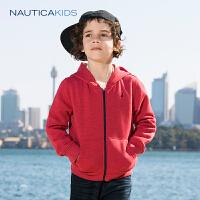 【每满100减50到手价:149】诺帝卡童装 男童针织外套18春季新品连帽拉链加绒外套上衣