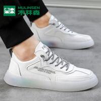 木林森新款男鞋夏季透气果冻底小白鞋板鞋男士休闲运动鞋