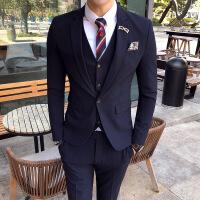 新款男士职场商务纯色修身西服正装新郎伴郎结婚宴会礼服西服套装
