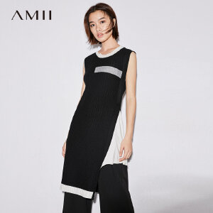 AMII极简圆领不对称针织连衣裙女2018秋新中长款设计感撞色无袖裙.