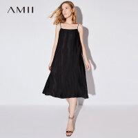 【AMII 超级品牌日】Amii[极简主义]2017夏装新款一字领A型吊带打底连衣裙11792562