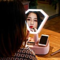 蓝牙镜子化妆镜带灯台式led台灯学生宿舍桌面少女心梳妆镜公主镜
