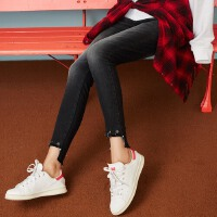 【秒杀到手价:40】美特斯邦威牛仔长裤女春秋冬季新款潮流不规则脚口弹力bf风潮