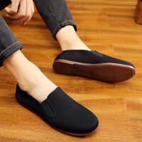 中国风老北京男鞋复古传统中式休闲鞋透气软底老头鞋功夫鞋黑布鞋 黑色
