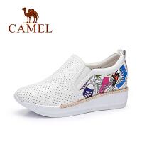 camel骆驼女鞋  春季新款 透气时尚印花内增高鞋 休闲单鞋女