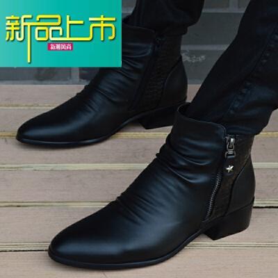 新品上市英伦高帮皮鞋男士韩版短靴内增高尖头皮靴时尚男鞋休闲鞋马丁靴男   新品上市,1件9.5折,2件9折