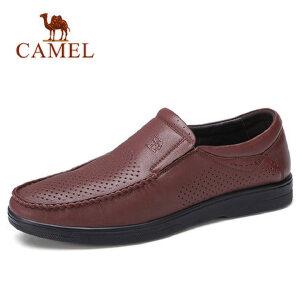 camel 骆驼男鞋2018春季新品商务休闲镂空套脚鞋舒适透气男士皮鞋