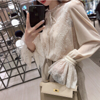 2018新款 春秋新款仙女气质雪纺衫打底喇叭袖蕾丝衬衫女上衣送吊带