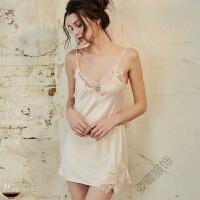 吊带睡裙女夏蕾丝边冰丝性感睡衣情调女人火辣露背美背中裙睡裙