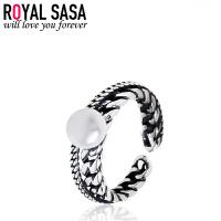 皇家莎莎s925银贝珠戒指女开口大小可调指环日韩版复古潮人配饰品