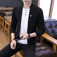 2018秋季个性针织衫男假两件毛衣男青少年韩版潮流开衫线衣薄外套
