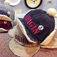 宝宝帽子秋冬儿童雷锋帽灯芯绒护耳帽男女童保暖帽子