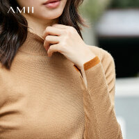 Amii[极简主义]2017秋装新款修身罗纹半高领拼色休闲毛衣11764749